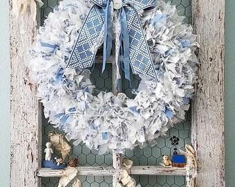 Wreath, Fabric Wreath, Blue Wreath, Rag Wreath, Woodland Wedding, Farmhouse Style, Blue and White, Holiday Wreath, Shabby Chic Nursery