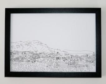 Ravello Print, Italy art print, Black and White artwork, Print of Ravello, Italy, Monochrome, Amalfi Coast