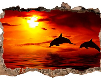 Two Dolphins 3D Wall Decal Sticker Vinyl Decor Mural