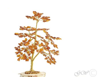 Baltic Amber Tree. Pine Made Of Baltic Amber Beads.