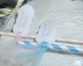 Fun Baby shower party straws - Set of 12 - Bottoms Up - Reveal Shower - Blue - Pink - Tulle