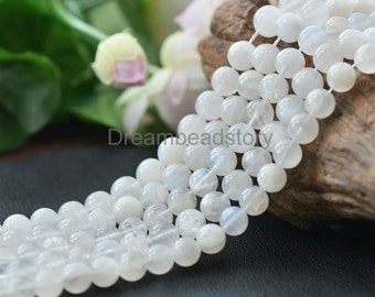 Natural AA Opalescent Moonstone Beads, Round 4mm 5mm 6mm Loose Blue Flash Gemstone Spacer Beads (JY160)