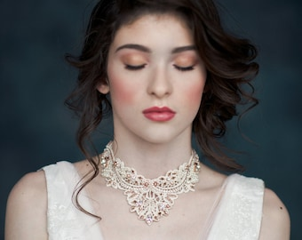 Rose Gold Beaded Crystal Lace Choker, Silver Bridal Statement Necklace, Gold Bridal Choker, Ivory Lace Necklace, Silver Lace Necklace HAZEL