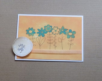 Blue Flowers Blank Card, Greeting Card, Mother's Day Card, Handmade Card