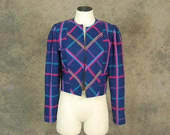 vintage 80s Cropped Blazer -1980s Plaid Wool Cropped Jacket Sz M