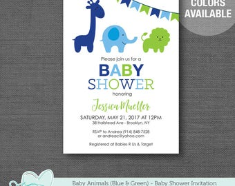 Baby Animals Baby Shower Invitation Printable Blue and Green, Baby Shower Invite, Elephant, Giraffe, Lion, Safari, Jungle, Boy, 2H