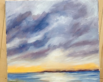 Original Oil Painting, Original Landscape Painting, Sunset Painting, Lake Art, Modern Art, wrapped canvas, Original Art