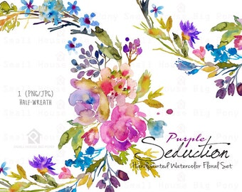 Purple Watercolor Flowers CLIPART- Handpainted flowers, Wedding Florals,   Watercolor Flowers- Purple Seduction Half Wreath