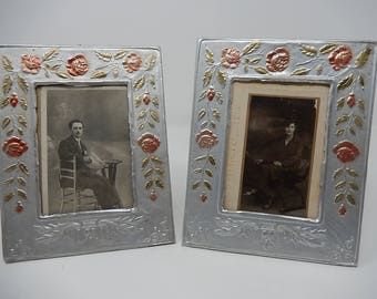Two old Enamel Pewter Frames 1900, Free Shipping