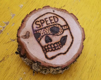 Speed skull pyrography wood burned log slice