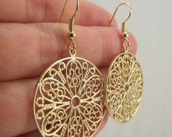Gold Filigree Medallion Earrings, Gold Earrings, Round Filigree Jewelry, Gift for Her, Gift under 25