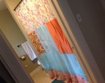 PEACH AND BLUE: repurposed silk scarf shower curtain, bohemian decor