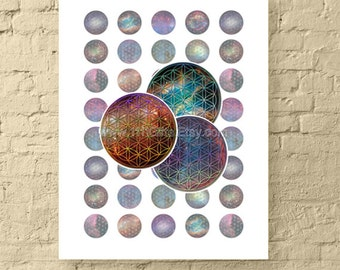 """Cosmic Flower of Life / 1"""" Circle Digital Collage Sheet / Sacred Geometry, New Age Art, Round Galaxy Images // Printable, Instant Download"""