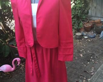 70s Pink Dress With Bolero Jacket