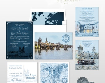 Prague Destination wedding invitation Prague Czech Republic Eastern Europe wedding invitation RSVP Illustrated invitation Deposit Payment