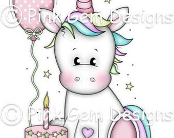 Digi Stamp  'Birthday Unicorn' - Birthday, Party Invitations
