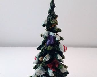 Green Resin Christmas tree decorated and snow on branches ~ glittery ~ perfect for villages ~ Christmas and holiday decor