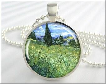 Van Gogh Pendant, Vincent Van Gogh Wheat Field, Vintage Art Jewelry, Impressionist Necklace Charm, Round Silver, Vintage Art Gift (115RS)