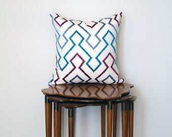Graphic Embroidered Abstract Chevron Print Pillow Cover, in Teal + Purple