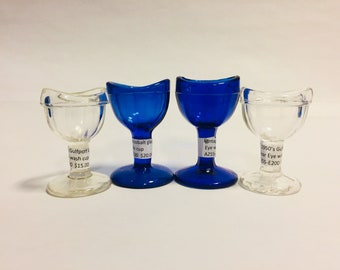Vintage Eye Wash Cups, 4 Available, Cobalt Eye Wash Cup Clear Eye Wash Cup