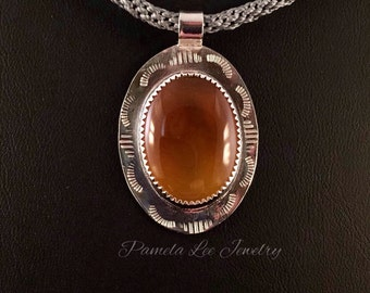 Golden Agate Pendant in Sterling Silver