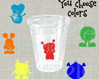 24 Assorted Boy Monsters vinyl decals Monster party Birthday party decoration monsters birthday party vinyl cup sticker party cup stickers