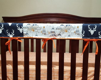 Buck Baby Crib Rail Guard Cover- Deluxe Buck and Indian Summer Teething Rail Guard