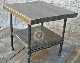 Steampunk Table, Industrial Nightstand, Industrial Decor, Steampunk Decor, Side Table, Rustic Nightstand, Pipe Table , father, dad