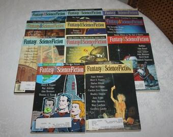 Eleven 11  Vintage Fantasy & Science Fiction Magazines Sci Fi Fantasy Science Fiction, 1991