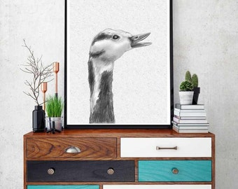 Goose Print, Nursery Animal Wall Art, Kids Printable Art, Black and White Goose Print,  Farm Animal Animal Print, Nursery Printable