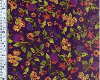 Autumn Harvest by Quilting Treasures-Purple Floral Fruit 21303-V