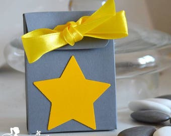 10 boxes grey dragees - stars and yellow ribbons
