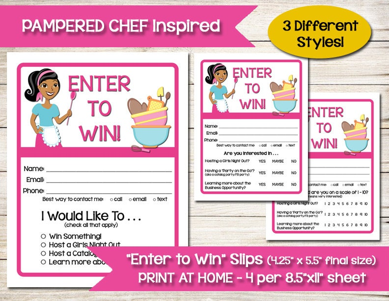 TUPPERWARE PAMPERED CHEF Enter to Win Door Prize