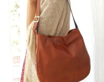 Brown leather hobo bag, leather hobo bag, hobo purse, everyday bag, women's purse, leather purse, leather bag