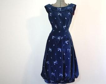 Vintage BLUE VELVET Dress •1950s Clothing •Blue Velvet Embroidered Bubble Hem Boatneck Scoop Back Cocktail Formal •Women Small Medium