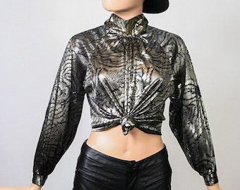 Vintage Liquid Metallic Top / Novelty Print Tiger Cat Faces / Lame Slouchy Shirt / Party Cocktail Blouse / 80s Glam Shiny / Small