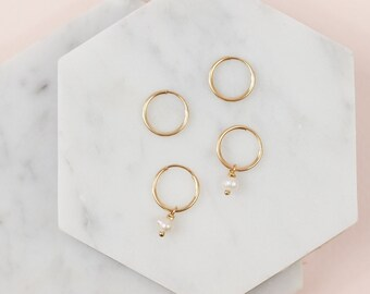 Tiny Hoop Earrings - Gold Hoop Earrings - Pearl Hoop Earrings - Mini Hoop Earrings - Delicate Hoop Earrings - Everyday Wear - Gift for Her