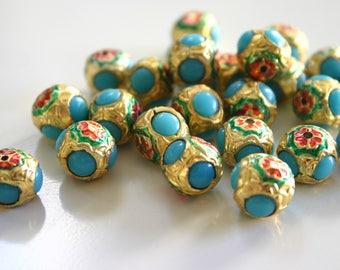 SALE Aqua Blue Meena - Meenakari beads (2) 14mm