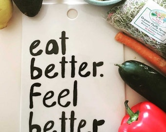 porcelain serving tray screen printed text in black eat better. feel better.