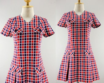 60s Vintage Dress | Check Plaid Mod Dress | Pleated Mini Twiggy Dress | Cotton Cheerleader Dress | Drop Waist Vintage Japanese Dress | XS