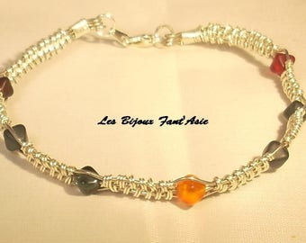 Bracelet wire wrapped in copper wire and glass multicolored pyramid beads