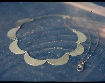 Hammered brass crescent moon necklace, seven moons, magick symbols, feminine energy, Goddess necklace.