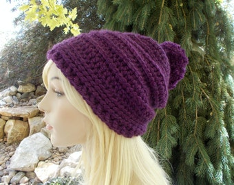Purple Hat, Womens Hats, Slouchy Beanie, Slouchy Hat, Pom Pom Hat, Winter Hat, Womens Beanies, Cute Hats, Gift Ideas for Women and Teens