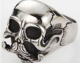 Skull With Mustache Ring