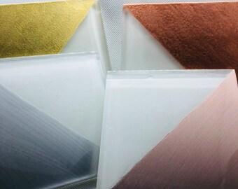 Set of 4 Multicolored Metallic Glass Coasters