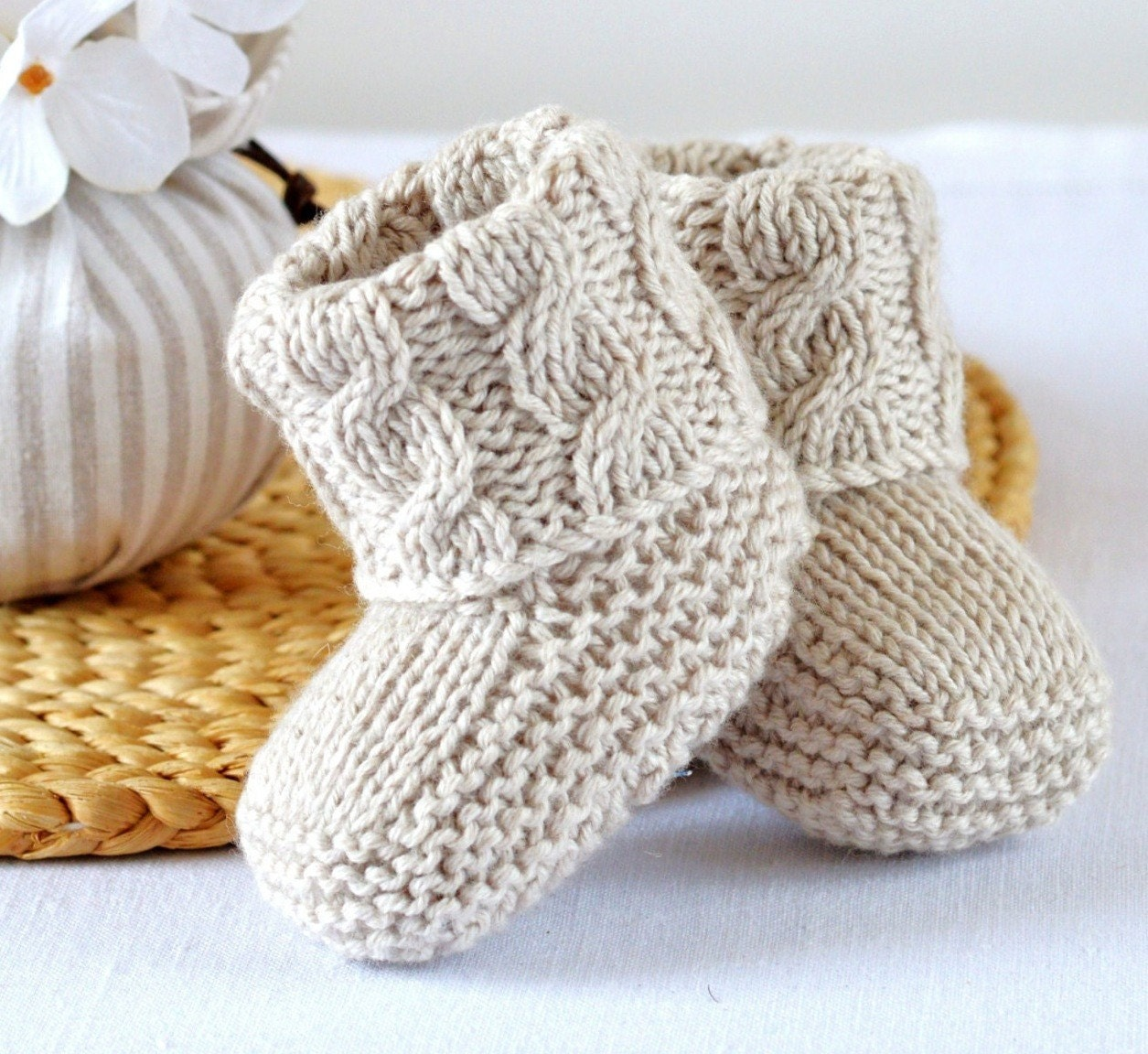 KNITTING PATTERN Baby Booties Cable Aran Baby Shoes Quick and Easy ...
