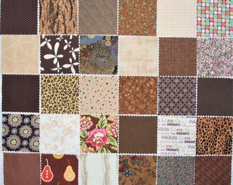 "42 - 5"" Charms, Browns, All Different, Die Cut, 100% Cotton Quilting Fabric, Scrappy Quilt (#9)"