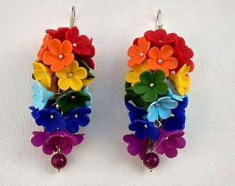 Rainbow Earrings Flower Earrings Dangle Earrings Ombre Earrings Rainbow Jewelry Gift For Her Statement Earrings