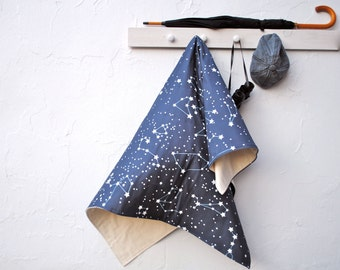 Throw Blanket- Organic Throw Blanket- Cozy Bed Blanket in Galaxy Stars in Navy, Dark Blue- Eco Friendly