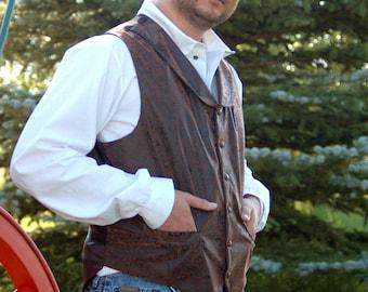 Men's Faux Leather Western/Steampunk Vest